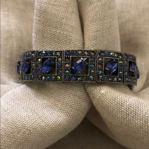 Smoky platinum & blue rhinestone stretch bracelet